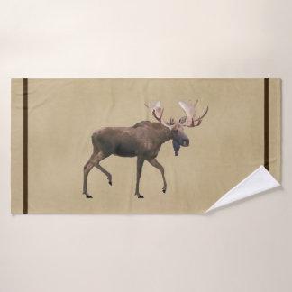 Toalha De Banho Alces de Bull no papel velho