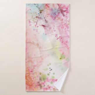 Toalha de banho floral da aguarela cor-de-rosa