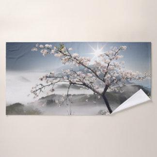 Toalha de banho japonesa da paisagem da cereja