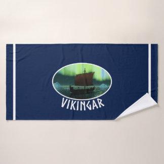 Toalha De Banho Navio de Viking sob a aurora boreal