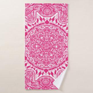 Toalha De Banho Teste padrão cor-de-rosa da mandala