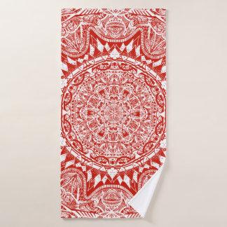 Toalha De Banho Teste padrão vermelho da mandala
