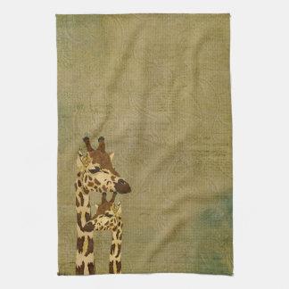 Toalha de bronze dourada dos girafas