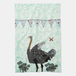 Toalha de cozinha azul enevoada do dia da avestruz