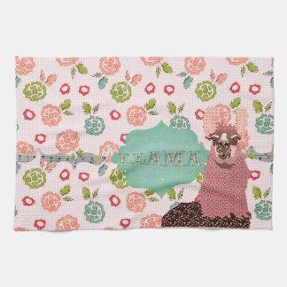 Toalha de cozinha cor-de-rosa floral retro de MoJo