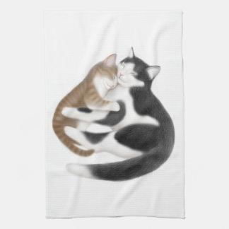 Toalha de cozinha maternal dos gatos do amor