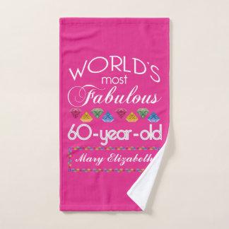 Toalha De Mão 60th Aniversário a maioria de rosa colorido