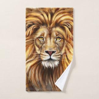 Toalha de mão artística da cara do leão