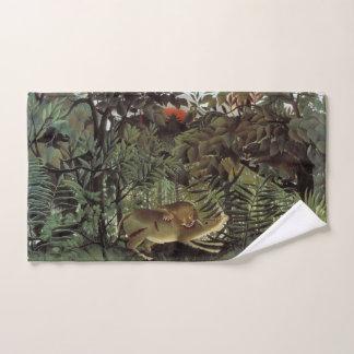 Toalha de mão com fome da arte do leão de Rousseau