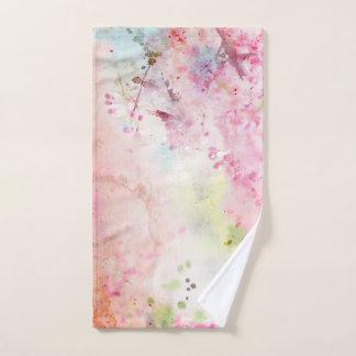 Toalha de mão floral da aguarela cor-de-rosa