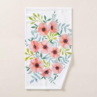 Toalha De Mão O rosa floral moderno floresce a ilustração da