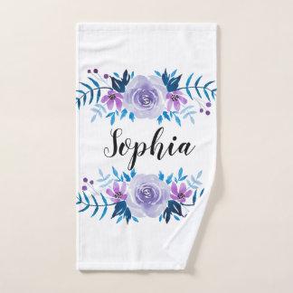 Toalha De Mão Texto floral roxo azul do costume da grinalda da