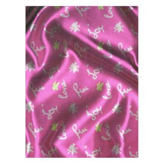Toalha De Mesa Amor, divertimento e Alegria-Seda, cor-de-rosa