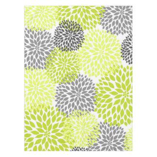 Toalha De Mesa Arte floral da dália cinzenta verde Chartreuse