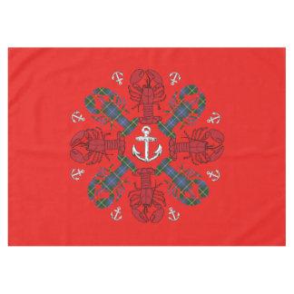 Toalha De Mesa Azul vermelho de N.S. Natal da âncora do floco de