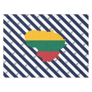 Toalha De Mesa Bandeira/mapa de Lithuania em fundo listrado