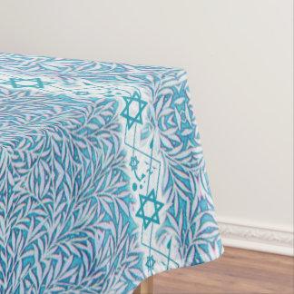 Toalha De Mesa Beira frondosa azul e branca da estrela de David