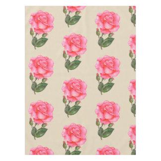 Toalha De Mesa Botânica floral da flor dos rosas do rosa do