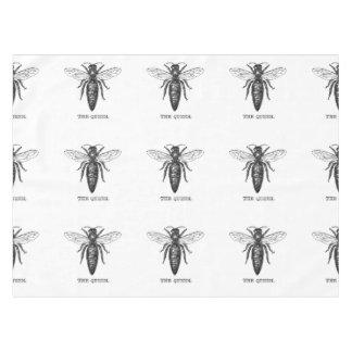 Toalha De Mesa Branco do preto da ilustração da abelha de rainha