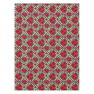 Toalha De Mesa Checkered Rockabilly do amor floral do buquê das