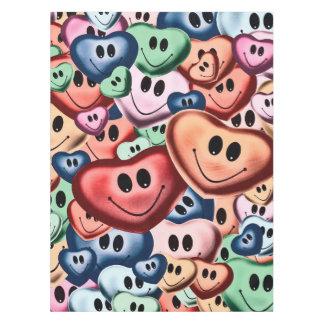 Toalha De Mesa Corações de sorriso engraçados B
