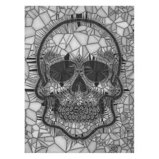 Toalha De Mesa Crânio de vidro do mosaico, branco preto