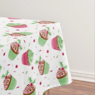 Toalha De Mesa Design do cupcake do Natal em cores do Natal