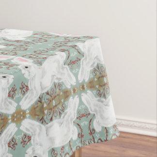 Toalha De Mesa Do coelho do Tablecloth do Natal da baga verde