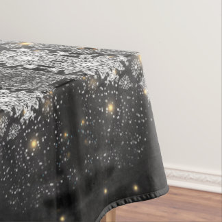 Toalha De Mesa Flocos de neve no pano de mesa preto