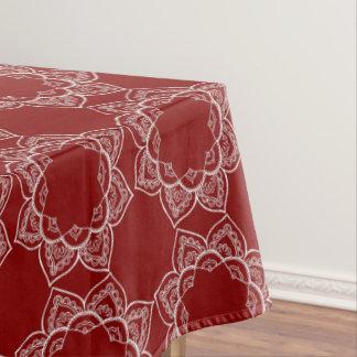 Toalha De Mesa Flor branca bonita da mandala no vermelho