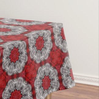Toalha De Mesa Flor cinzenta com vermelho no vermelho Textured