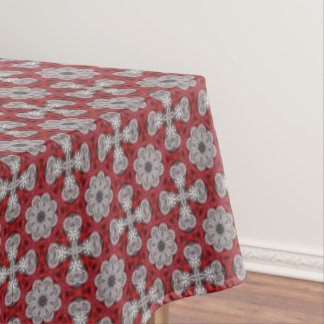 Toalha De Mesa Flores e cruzes cinzentas no vermelho Textured