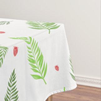 Toalha De Mesa Folhas e teste padrão tropicais da morango