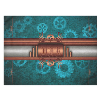 Toalha De Mesa Fusão do monograma, do Steampunk Deco, cobre e