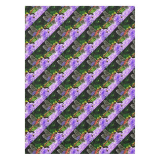Toalha De Mesa Libélula vermelha nas flores roxas violetas