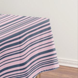 Toalha De Mesa Listras azuis e cor-de-rosa cinzentas profundas
