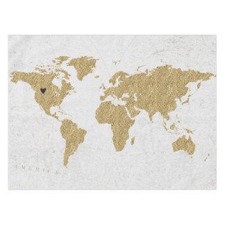 Toalha De Mesa Lugar móvel feito sob encomenda do coração do mapa
