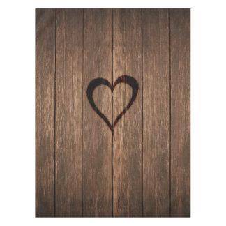 Toalha De Mesa Madeira rústica impressão queimado do coração