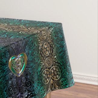 Toalha De Mesa Mandala celta do coração no verde e no original do