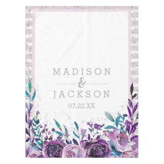 Toalha De Mesa Monograma roxo chique do casamento floral & de