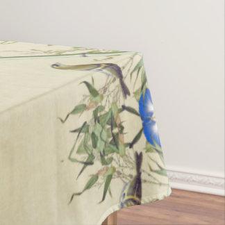 Toalha De Mesa O azul de bambu asiático dos pássaros floresce o