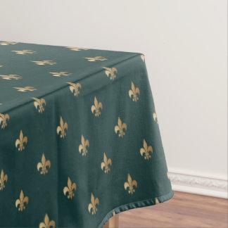 Toalha De Mesa O ouro elegante gosta da flor de lis no verde de