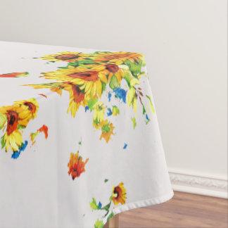 Toalha De Mesa Pano de mesa branco com os girassóis amarelos -