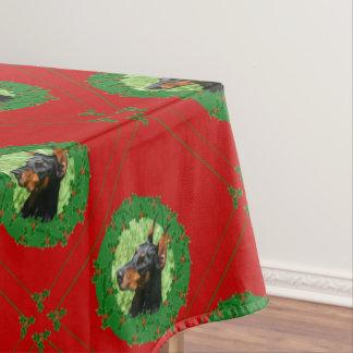 Toalha De Mesa Pano de mesa de Pinscer do Doberman do Natal