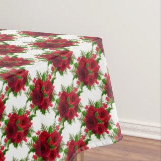 Toalha De Mesa Rosa vermelha & azevinho do Natal do Tablecloth