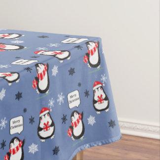 Toalha De Mesa Tablecloth azul do feriado do pinguim do Feliz