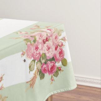 Toalha De Mesa Tablecloth cor-de-rosa da listra da manjericão do