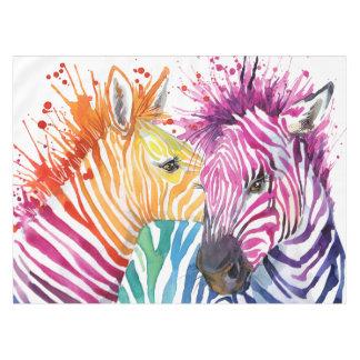 Toalha De Mesa Tablecloth do arco-íris da zebra