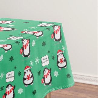 Toalha De Mesa Tablecloth do feriado do verde do pinguim do Feliz