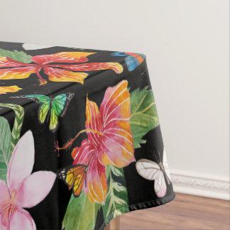Toalha De Mesa Tablecloth preto das flores tropicais